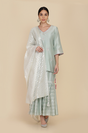 Apple green assymetrical double layer tunic with farshi and dupatta