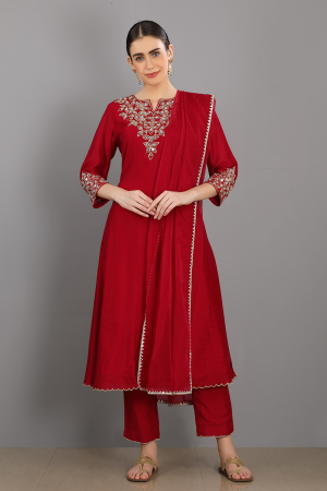 red embroidered chanderi silk mehboob kurta set