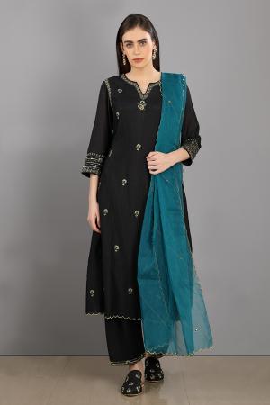 black  embroidered chanderi silk nayan kurta set