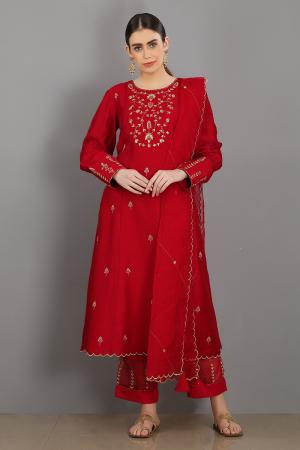 red  embroidered chanderi silk gul kurta set