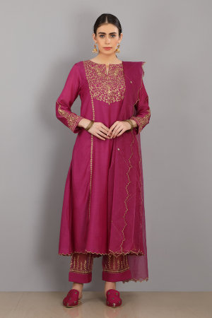 magenta embroidered chanderi silk azhar kurta set