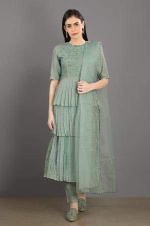 mint embroidered chanderi silk kiran kurta set