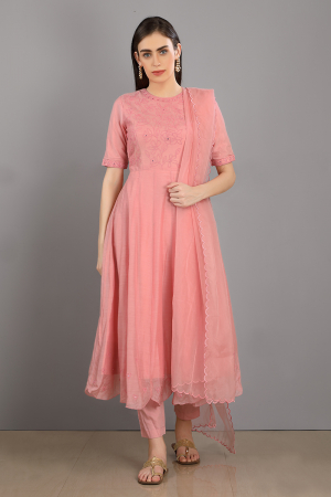 pink embroidered chanderi silk rameen kurta set