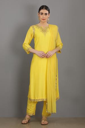 lemon embroidered chanderi silk suhaanii kurta set