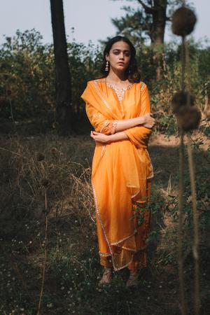 orange embroidered chanderi silk zardiyaan kurta set