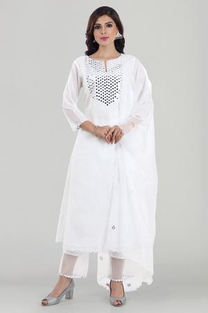 White Mirror Embroidered Chanderi Silk Kurta Set