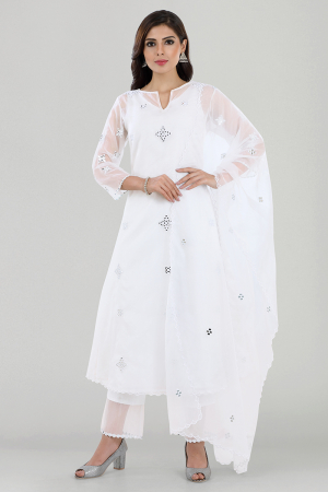 White Organza Mirror Embroidered Chanderi Silk Kurta Set