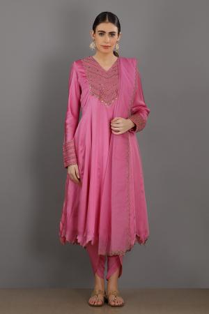 blush pink  embroidered chanderi silk faiza kurta set
