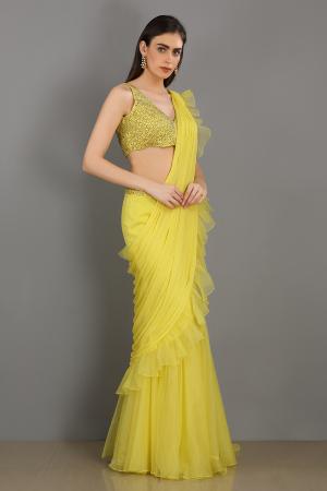 lemon shaam linen satin organza handwork draped saree