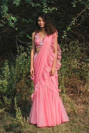 candy pink gul-rez linen satin organza handwork draped saree
