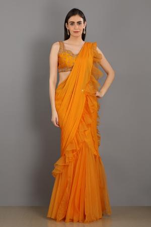 orange shezan linen satin organza handwork draped saree