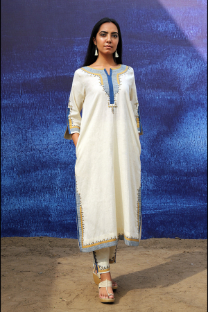 off white handwoven handspun cotton Back Open Mid Calf Length Kurta Set