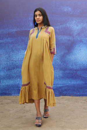 mustard yellow handwoven handspun cotton Mid Calf Length Dress
