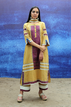 mustard yellow handwoven handspun cotton Front Open Mid Calf Length Kurta Set