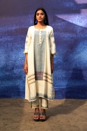 off white handwoven handspun cotton Front Open Mid Calf Length Kurta set