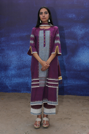 wine handwoven handspun cotton Front Open Mid Calf Length Kurta Set