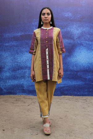 mustard yellow handwoven handspun cotton Tunic Shirt with Intricate Detailing pants
