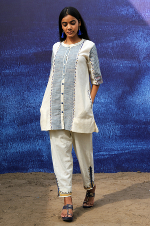 off white handwoven handspun cotton Tunic Shirt with Intricate Detailing Pants