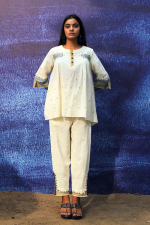 off white handwoven handspun cotton Top with Intricate Detailing pants
