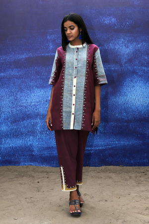 wine handwoven handspun cotton Tunic Shirt with Intricate Detailing pants