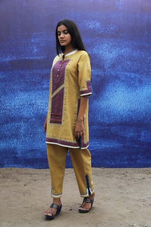 mustard yellow handwoven handspun cotton Tunic with Pants