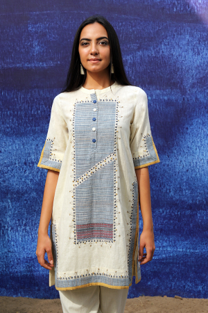 off white handwoven handspun cotton Tunic with Pants