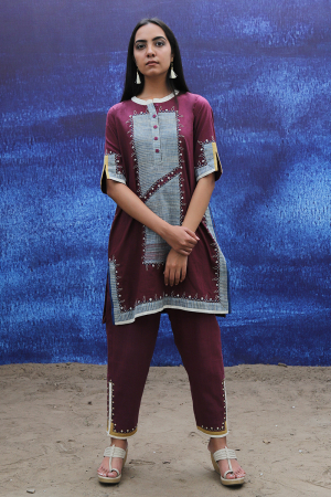 wine handwoven handspun cotton Tunic with Pants