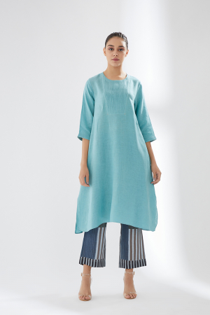 Front Details Tunic Set With Contrast Teousers