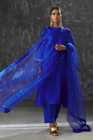 azure star silk organza dupatta