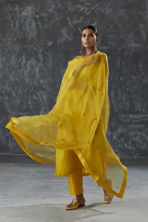 honey star silk organza dupatta