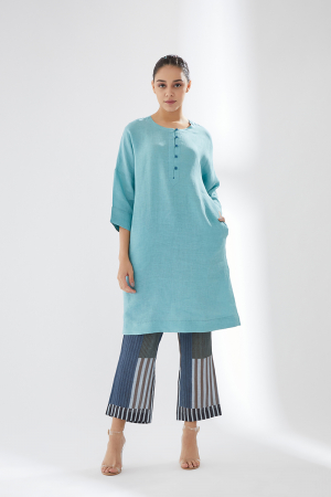 Sky Blue Tunic Set With Contrast Trousers