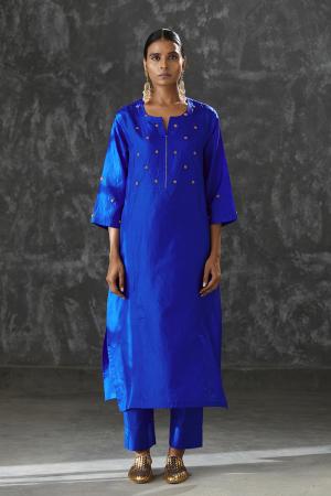 azure dabka zardozi work Silk tunic
