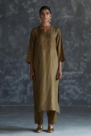olive dabka zardozi embroidered Silk tunic