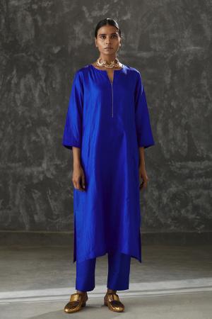 azure zari embroidered Silk tunic