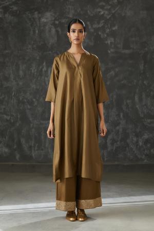 olive v neck silk tunic