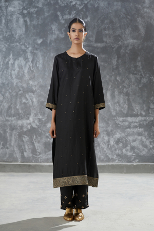onyx hand embroidered silk tunic