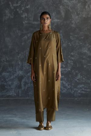 olive zari dabka work Silk tunic