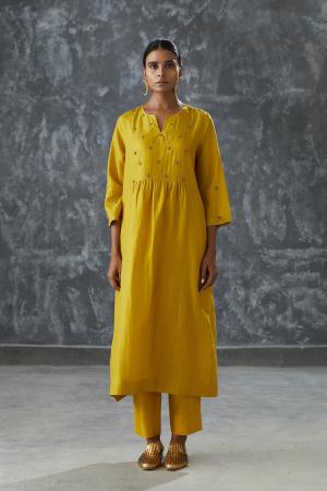 honey zari dabka work Silk tunic