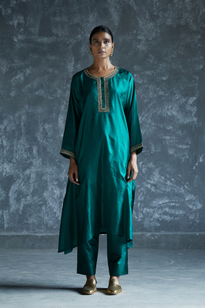 basil french knots antique sequined silk tunic