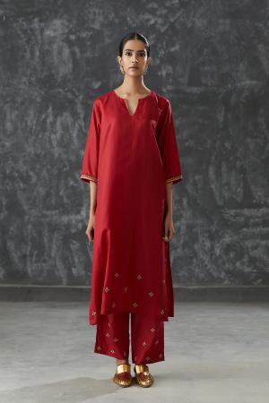 merlot dabka work Silk tunic