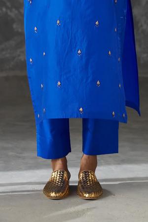 azure drawstring silk pant