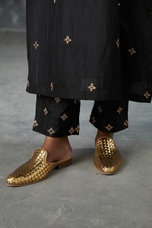 onyx dabka zardozi embroidered silk pant