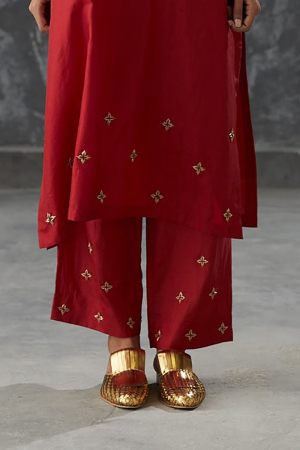 merlot dabka zardozi embroidered silk pant