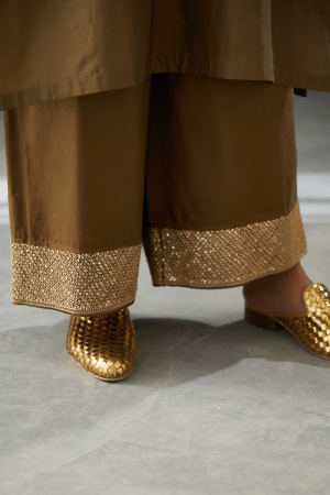 olive sequin french knots embroidered silk pant