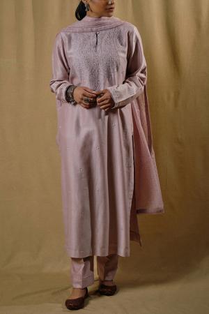 Old rose pink chanderi kurta set