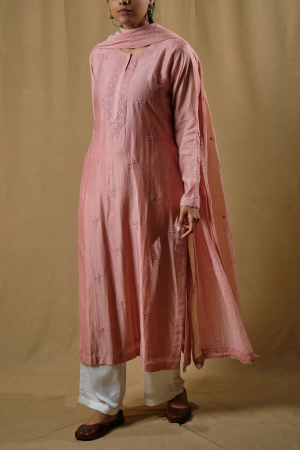 Pink chanderi kurta set