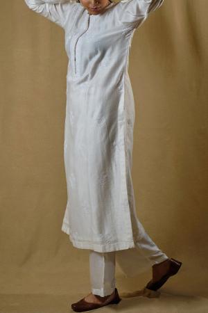 White chanderi kurta set