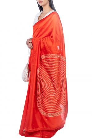 Tangerine madala pallu saree with blouse