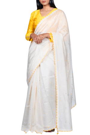 Striped chanderi silk scallop saree with blouse