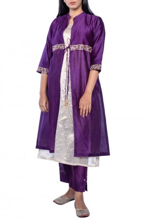 Chanderi overly kurta set